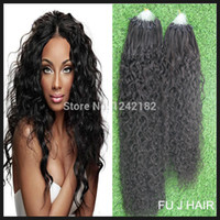 Cheap Micro Loop Ring Cabelo Extensões Humanas Raw Unprocessed Virgin Brazillian Hair Loose Curly Brazilian Hair Water Wave