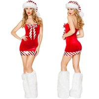 Wholesale Big Size Clothing Bra - New Christmas Clothing Sexy Bra Top Package Winter Hip Skirt Big Bow New Year Party Performance Clothing