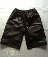 Wholesale Leather Shorts Elastic Waist - Gold zipper Tether Breathable Elastic Waist Black Men Casual Shorts   Fashion Faux PU Leather   M-3XL