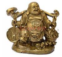 coleção feliz venda por atacado-Coleção Sorte Yuanbao Ruyi Riqueza Feliz Rir Buda Maitreya Estátua De Bronze