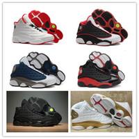 Wholesale Black Flight - 2017 Retro 13s White Red Basketball Shoes DMP Grey Toe History Of Flight Men Women 13 Basketball Sneaker Bred Chicago Flints Sports Shoes