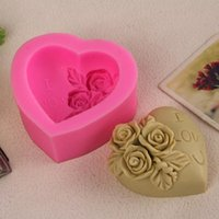 Grossiste en 3D Love Heart chocolat cupcake Mold Cookies faire des moules Rose Flower Silicone Mold Cake Décoration Sugarcraft