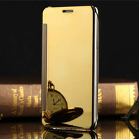 Wholesale Transparent Flip Case - Mirror Clear View Leather Flip Case Electroplate plated Transparent Wallet Cover for Samsung Galaxy S8 S6 edge Plus S7 iphone 6 7 plus