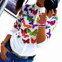 Wholesale Stylish Long Shirts For Women - Wholesale- Fashion Long Sleeve Lapel Floral Butterflies Printing Top Stylish Summer T-Shirts for Women Female Office LJ3981E