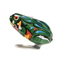Wholesale Tin Toy Retro - Retro Jumping Frog Tin Toys Wind Up Vintage Adult Collection Metal Clockwork Tin Toys Vintage Kid Jumping Frog Gift For Children