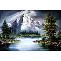 Wholesale Mountain Wall Painting - Snow Mountain scenery Full Drill DIY Mosaic Needlework Diamond Painting Embroidery Cross Stitch Craft Kit Wall Home Hanging Decor