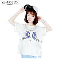 Wholesale Drop Shipping Cat Shirts - Wholesale-YEMUSEED Summer Style Crop Top Harajuku Women T shirt Bule Cat Eyes Printed Women Clothes Drop Shipping