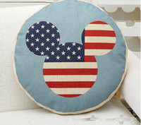 Wholesale new cushion cover design for sale - Group buy New Design Printed Round Flag Pattern Cotton Linen Star Pillow Cushion Case Cover Style Home Sofa Decor Pillow Case