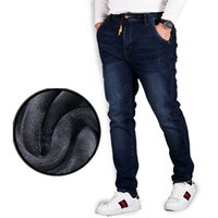 Wholesale Fleece Lined Jeans - Wholesale-Plus Size Warm Men's Winter Fleece Jeans Regular Fit Flannel Lined Denim Pants Elastic Drawstring Waist Dark Blue Long Trousers