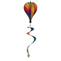 Wholesale spinner tails resale online - 11 Inch Rainbow Stripe Hot Air Balloon Wind Spinner Includes Curlie Tail Colorful Kinetic Hanging Decoration DEC275