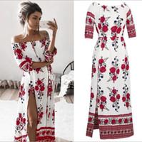 Wholesale Denim Long Maxi Dress - 2017 Bohemian dresses Sexy maxi dress denim Women vintage summer dress Flora Printed Backless Beach party casual Flower Split long dresses
