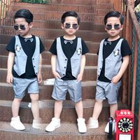 Wholesale Two Piece False Vest - 2017 new Boys Clothing Sets short sleeve False two pieces bow tie Vest T-Shirt + shorts pants Children Suit Kids Outfits Boys Clothes A694