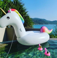 Wholesale Swimming Pools Inflatables - 190cm Inflatable Floats Inflatable Unicorn Ride-On pool toys for kids and adults Unicorn inflatable float Swimming Ring Water Raft D795