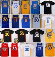 Wholesale El Flashing Shirts - Hot Sale 35 Kevin Durant Jersey Throwback 9 Andre Iguodala 30 Stephen Curry Shirt Uniform 11 Klay Thompson 23 Draymond Green Blue White