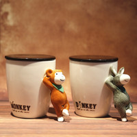 Wholesale Gift Coffee Spoon - Wholesale- 440ML 3D Ceramic mug with lid cartoon animal coffee cup gift box packing coffee mug many deisgns cup with animal