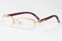 Wholesale glasses half frame cat eye for sale - 2017 fashion classic retro style sunglasses for men women brand designer glass lens buffalo horn sun glasses wood half frame with box