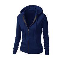 Wholesale Wholesale Running Jackets - Wholesale-Women's Hoodie Sport Tops Long Sleeve Sweatshirt Zip-Up Hooded Pullover Running Coat Jacket Muscle Exercise Clothes 21