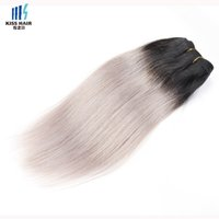 Wholesale Natural Grey Hair - 300g Two Tone T 1B Silver Grey Ombre Human Hair Weave Good Quality Colored Brazilian Silky Straight Hair Extensions Peruvian Indian Hair