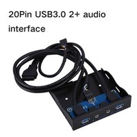 Wholesale Usb Front Panel Adapter - 20 Pin 2 USB 3.0 Hub HD Audio Front Panel Mic Connector Adapter Internal Floppy Bay Front Panel Bracket