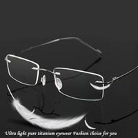 Wholesale titanium prescription glasses resale online - Rimless eyeglasses titanium oculos de sol glass optical men prescription classic spectacle business myopia trimming light