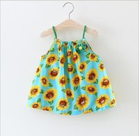 Wholesale Sunflower Dress Girls - 3 color hot selling Korean style 2017 new arrival girl summer cute sling Sunflower printting Dress high quality cotton dress free shipping