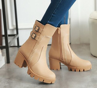 Wholesale Halloween Muffin - Wholesale New Arrival Hot Sale Specials Super Fashion Influx Warm Sexy Martin Leather Roman Belt Buckle Bottom Muffin Ankle Boots EU34-43