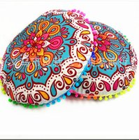 Wholesale Cushion Covers Round - 43*43CM Round Indian Mandala Floor Pillows Round Bohemian Cushions Pillows Cover Case Color Textile Pillow Sofa Pillow Case