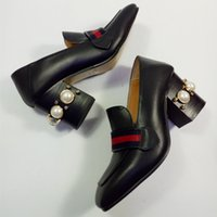 Wholesale Luxury Sexy Dress Shoes - 2017 Women Square toe Pearl Rivets Embossed Chunky High Heels Pumps Sexy Gold Buckles Real Cow Leather Shoes Woman Luxury Pumps