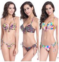 Wholesale Sling Swim Wear - push up swimwear women brazilian bikini set beachwear backless sling tassel biquinis maillot de bain cropped camouflage swimsuit swim wear