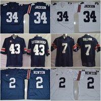 Wholesale Newton White - Auburn Tigers #34 Bo Jackson #2 Cameron Newton #7 Pat Sullivan #43 Philip Lutzenkirchen Blue White Stitched College Jerseys Free Shipping
