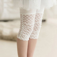 Wholesale Green Lace Leggings Baby - Baby Girls White Lace Tights Thin Toddler Beaded Leggings Socks Kids Candy Color Leggings Girls Fashion Summer Cute Dress Sock