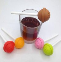 Wholesale Mug Strainer - Lollipop Shape Silicone Tea Infuser Candy Lollipop Loose Leaf Mug Strainer Cup Steeper for Tea Coffee Drinkware Tool CCA8425 200pcs