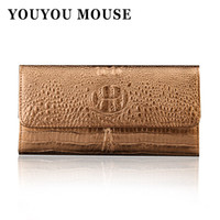 Wholesale womens long black leather coats - YOUYOU MOUSE Womens Wallets Alligator Coat Of Paint 100% Genuine Leather Wallet Womens Cowhide Clutch Hasp Credit Card Holder