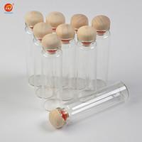 20ml Glass Bottles with Hardwood Cap Cute Glass Bottles Jars Crafts for Wedding Gift Home Decor Jars 100pcs