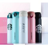 termos içecek bardakları toptan satış-Starbucks Termos Bardak Vakum Şişeler Termos Paslanmaz Çelik Yalıtımlı Termos Bardak Kahve Kupa Seyahat İçecek Şişe 450 ml 6 Renkler