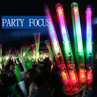 varitas de luz led al por mayor-Venta al por mayor- Multicolor Light-Up Parpadeo Rave Sticks LED Parpadeante Estroboscópico Varitas Conciertos Fiesta Resplandor 17 FJ88
