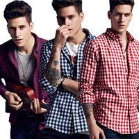 Wholesale basic cotton long dress - Fashion Men's Flannel Basic Shirt Men Dress Shirt Men's Long Sleeve Plaid Shirts Casual Fashion Style Mens Shirts Clothing