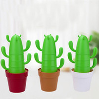 Wholesale Plate Handpainted - Cactus Cups Toys Set 4Cups+4Spoons+Plate+Base Eco-friendly Material: Polylactic acid(PLA) Office Family Coffee Microwave heating ZA2391
