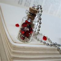 yakut takılar toptan satış-12 adet / grup Gömülü Korsan Hazine Kolye Kırmızı Yakut Taşlar Cork Flakon Kolye Charm kolye gümüş ton