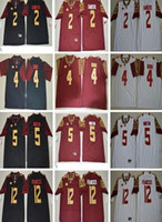 Wholesale Cooking Logos - Wholesale FSU College 2 Deion Sanders 4 Dalvin Cook 12 Deondre Francois Jersey Red Black White Florida State Seminoles shirts with logo