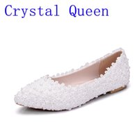 Wholesale White Lace Flat Bridal Shoes - Crystal Queen New Fashion White Lace Pearl Flats Women Wedding Shoes Pointed Flat Bridal Shoes Party White Lace Shoes