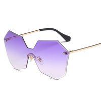 Wholesale Golden Rhombus - Fashion Ocean Lens Sunglasses Women Men Brand Metal Sun Glasses Rhombus Frame Pilot Shades UV400 Lunette De Soleil Femme Homme
