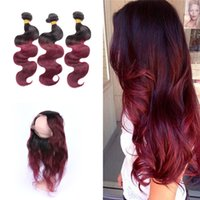 Wholesale Brazilian Bands - Ombre Burgundy Pre Plucked 360 Lace Band Frontal With Hair Bundles Dark Root 1b 99j Body Wave Hair Extension With 360 Lace Frontal