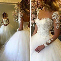 Wholesale applique designs for wedding dresses - 2017 New Gorgeous Sheer Long Sleeves Lace Wedding Dresses Arabic Ball Gown Embroidery Special Design Wedding Gowns for Bride