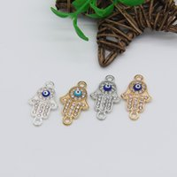 """Wholesale Evil Eye Connector Free - Free Shipping DIY lot of 10 Gold Silver Plated Rhinestone HAMSA HAND """"Evil Eye"""" Lucky Connector Charm Pendant Kabbalah Jewelry 25*15mm"""