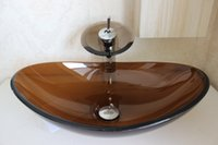Wholesale glass bowl sinks Glass Sink Basin tempered glass basin Brown color