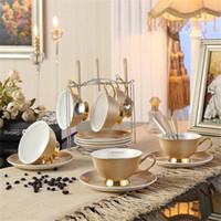 ingrosso tazze di caffè del ristorante-Bone China tazze da tè / tazze di caffè set di piattini con cucchiai-10.2Oz, per la casa, ristoranti, regalo di festa per la famiglia o gli amici