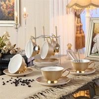 Wholesale china glaze sets - Bone China Teacups Coffee Cups & Saucers Sets with Spoons-10.2Oz,for Home,Restaurants,Holiday Gift for Family or Friends