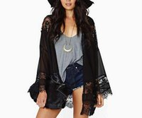 camisa de encaje negro con cuello en v al por mayor-New Europe Fashion Women's Lace Chiffon Prevent Bask Cape Coat Lady's manga larga Thin Outwear Shirt Tops abrigos negro