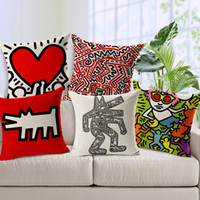 Wholesale Cushions Ideas - 8 Styles Artist Keith Haring Modern Ideas Paintings Cushions Pillows Covers Creative Figure Love Pillow Case Sofa Linen Cotton Cushion Cover